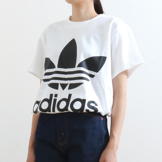 adidas Originals アディダス BIG TREFOIL TEE ビッグトレフォイルTシャツ DH3160 ホワイト/ブラック レディース