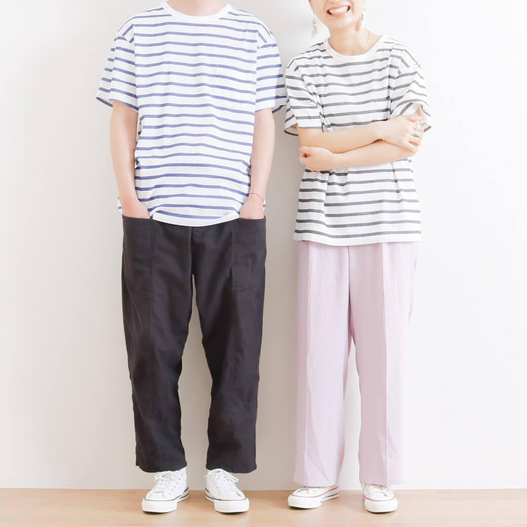 BIWACOTTON ビワコットン ボーダーポケットTシャツ
