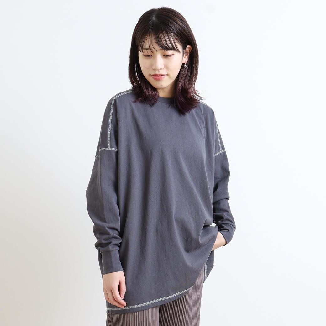 BORNFREE ORIGINALS ボーンフリーオリジナル 配色ステッチロングTシャツ