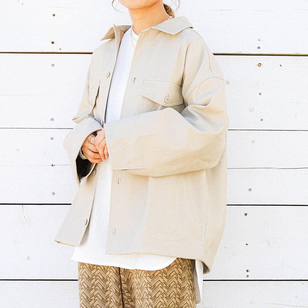 BORNFREE ORIGINALS ボーンフリーオリジナル エコレザーミドル丈シャツジャケット