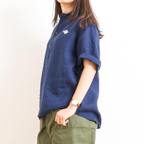 DANTON ダントン LINEN CLOTH PULLOVER S/S SHIRT リネンクロス丸襟プルオーバーシャツ 半袖 JD-3565KLS