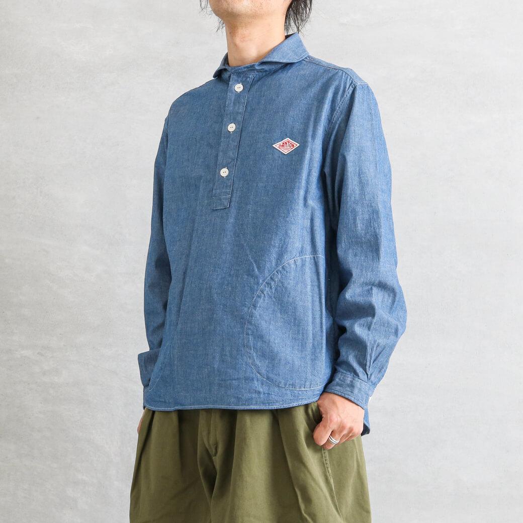 DANTON ダントン 丸襟 シャンブレー 長袖 プルオーバーシャツ