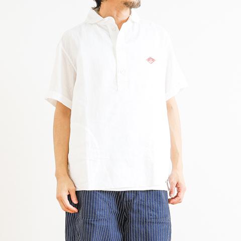 【今だけ10%OFF】DANTON ダントン リネンクロス丸襟プルオーバーシャツ 半袖
