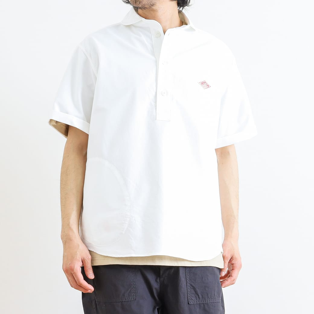 DANTON ダントン 半袖ラウンドカラープルオーバーシャツ