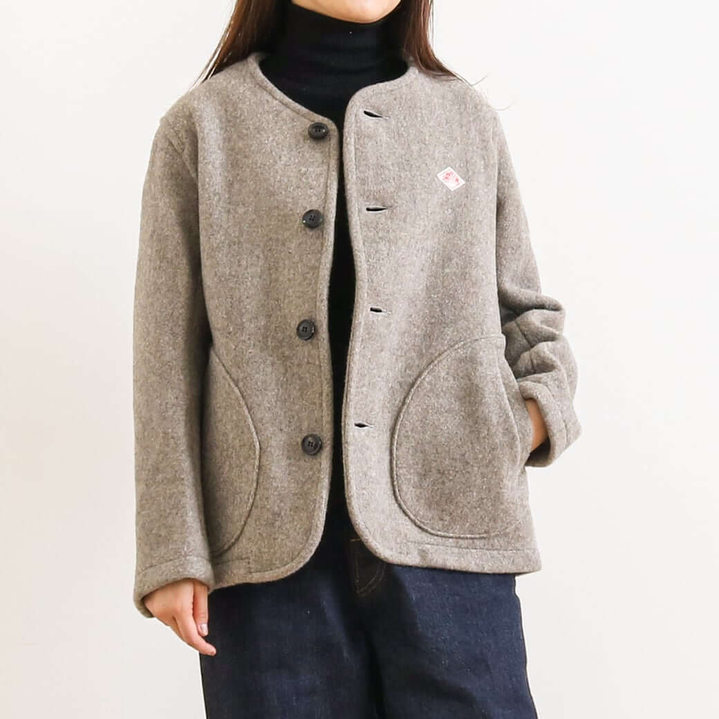 DANTON ダントン WOOL MOSSER NO COLLAR JACKET JD-8903WOM レディース