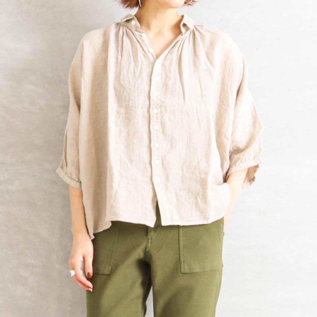 【今だけ10%OFF】Brocante ブロカント リネンキャンバスグランシャツ