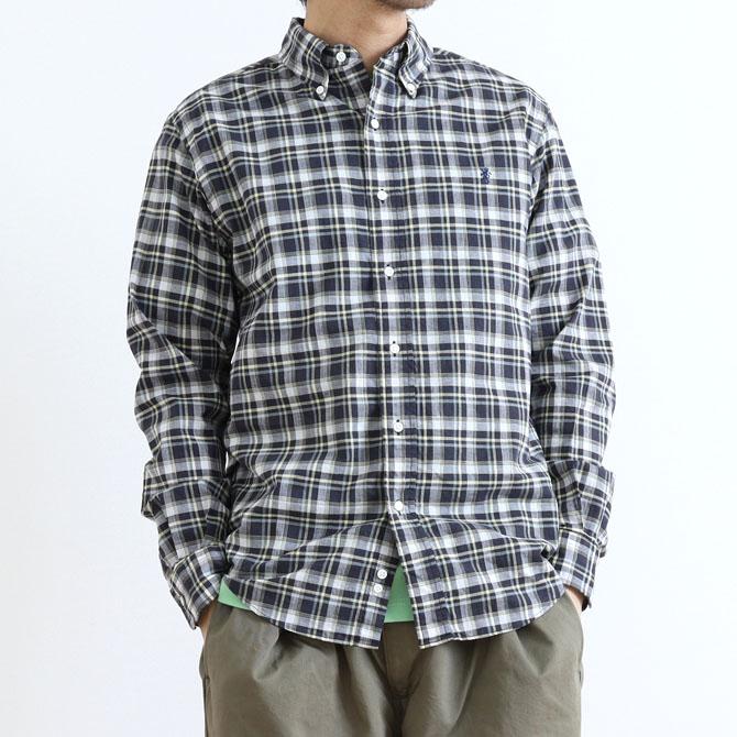 【今だけ10%OFF】Gymphlex(ジムフレックス) MADRAS CHECK L/S B.D SHIRT マドラスチェック 長袖 ボタンダウンシャツ J-0643BGM