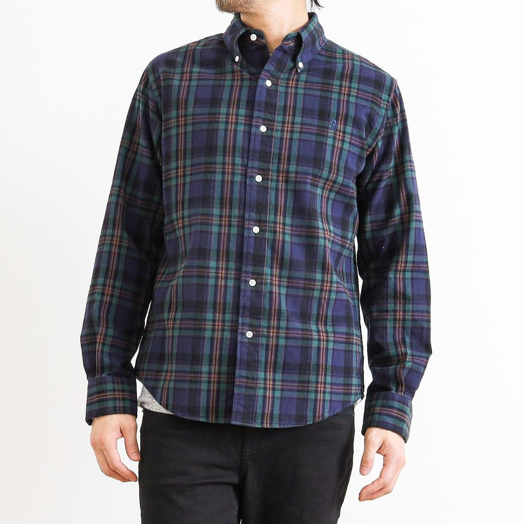 【予約商品】GYMPHLEX ジムフレックス ビエラ起毛 ボタンダウンチェックシャツ 長袖