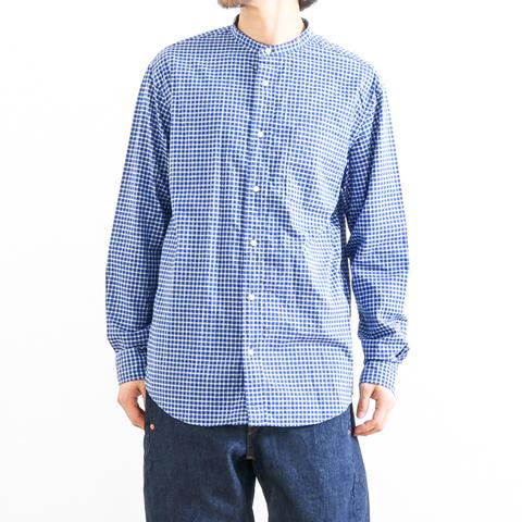 Gymphlex ジムフレックス BAND COLLAR L/S CHECK SHIRT バンドカラー チェックシャツ 長袖 J-1352BGM