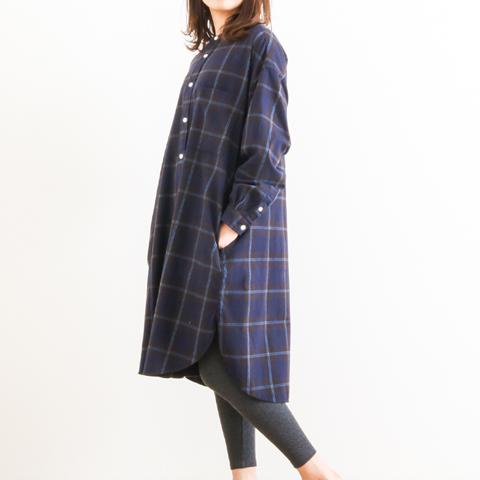 GYMPHLEX ジムフレックス VIYELLA CHECK BAND COLLAR SHIRT DRESS ビエラ起毛 バンドカラー チェックシャツワンピース J-1363VHC