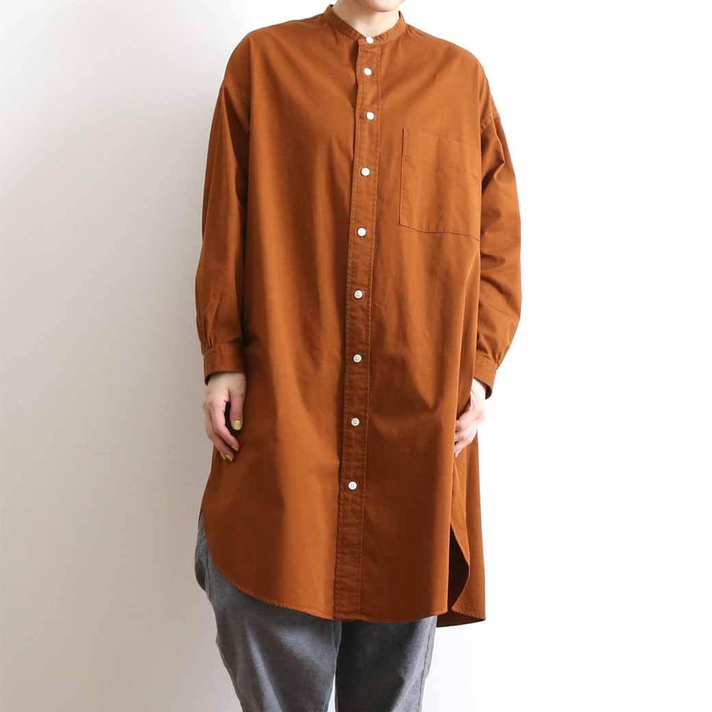 【今だけ10%OFF】GYMPHLEX ジムフレックス BAND COLLAR TWILL SHIRT DRESS バンドカラー ツイルシャツワンピース