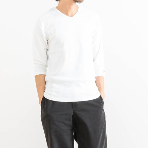 【今だけ10%OFF】HOLLYWOOD RANCH MARKET ハリウッドランチマーケット ストレッチフライス VネックTシャツ 七分袖 700066129