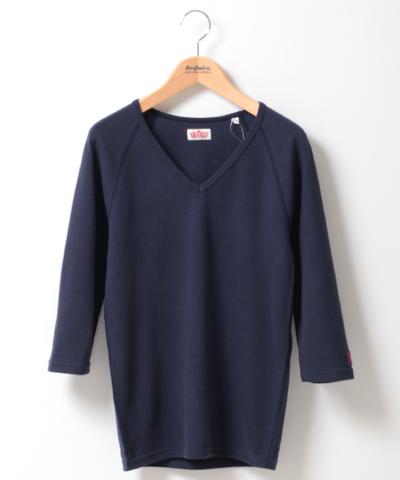 【今だけ10%OFF】メンズ HOLLYWOOD RANCH MARKET ストレッチフライス VネックTシャツ 7分袖 ネイビー