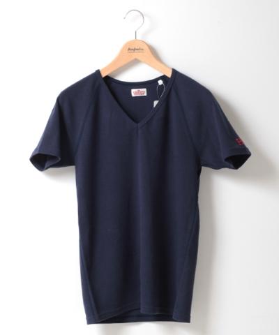 メンズ HOLLYWOOD RANCH MARKET ストレッチフライス VネックTシャツ ネイビー