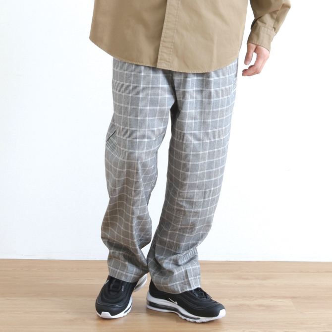 Johnbull(ジョンブル) Check Wide Easy Pants チェックワイドイージーパンツ 21315 ブラック系