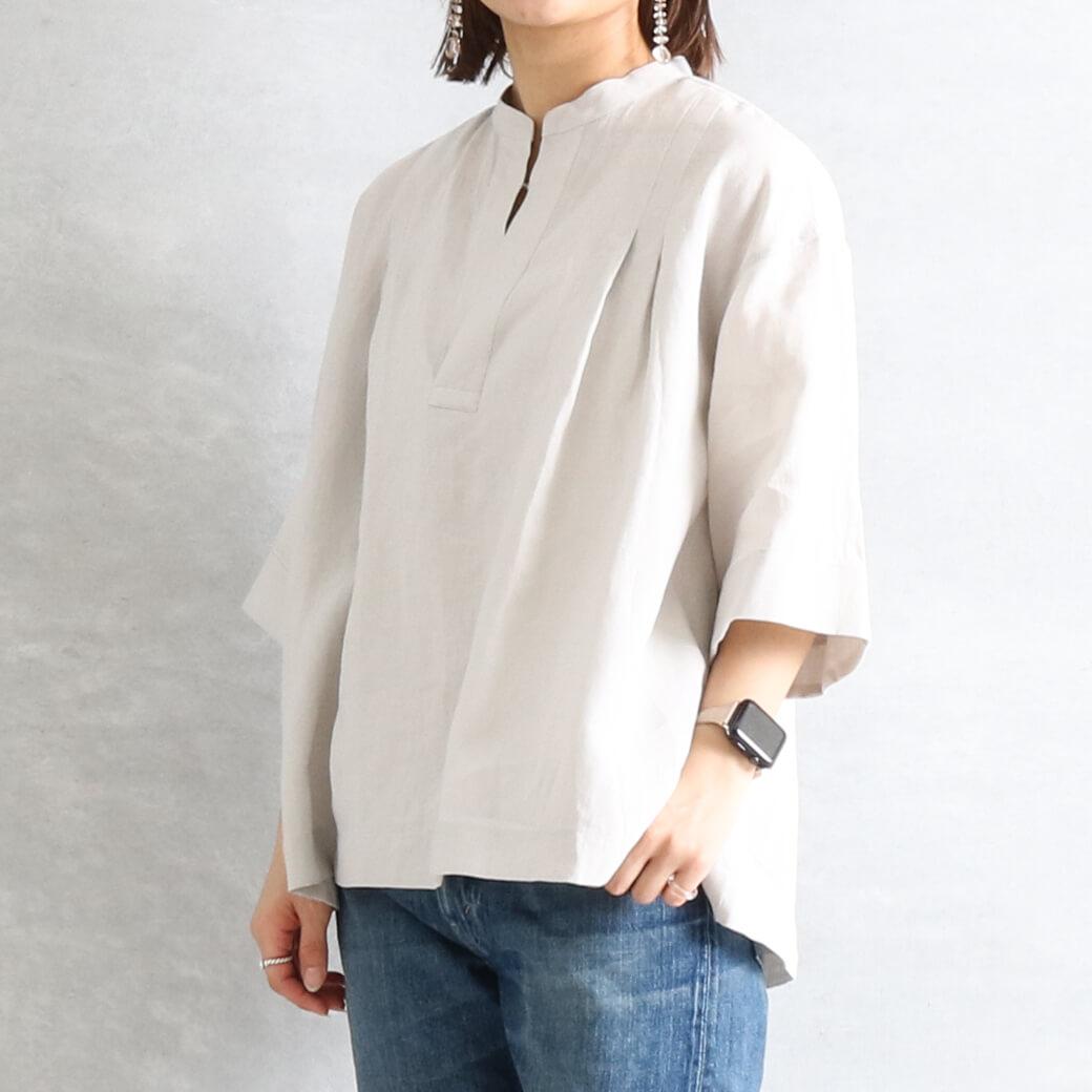 【今だけ10%OFF】LE GLAZIK ル・グラジック リネンクロス スキッパーシャツ