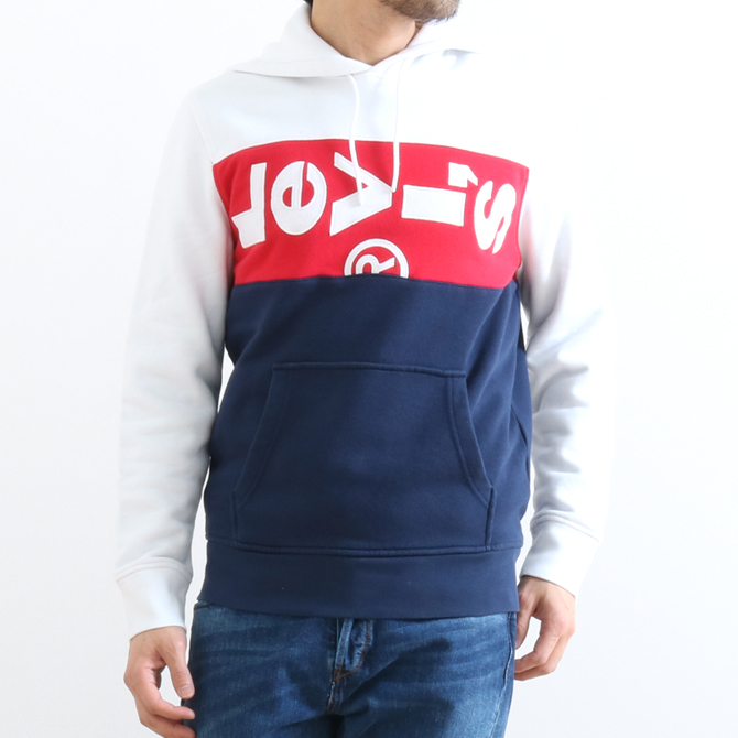 Levi's(リーバイス) L-TAB PANEL OVERSIZE HOODIE WHITE / LYCHEE/ D1429 74591-0000 メンズ パーカー