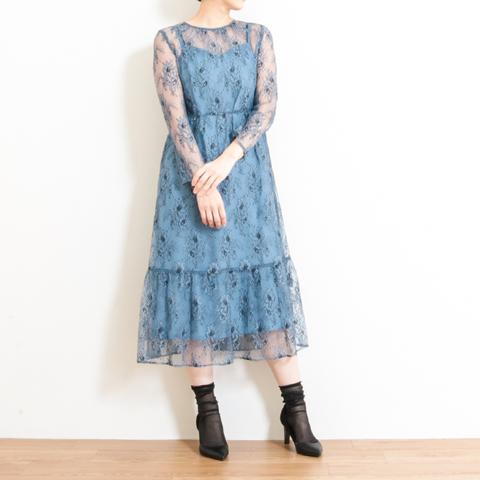 【今だけ10%OFF】kaene カエン All Lace Dress オールレースワンピース 100305