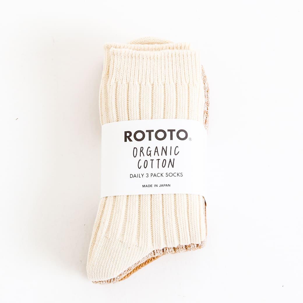【今だけ10%OFF】ROTOTO ロトト オーガニックデイリー3パックリブクルーソックス