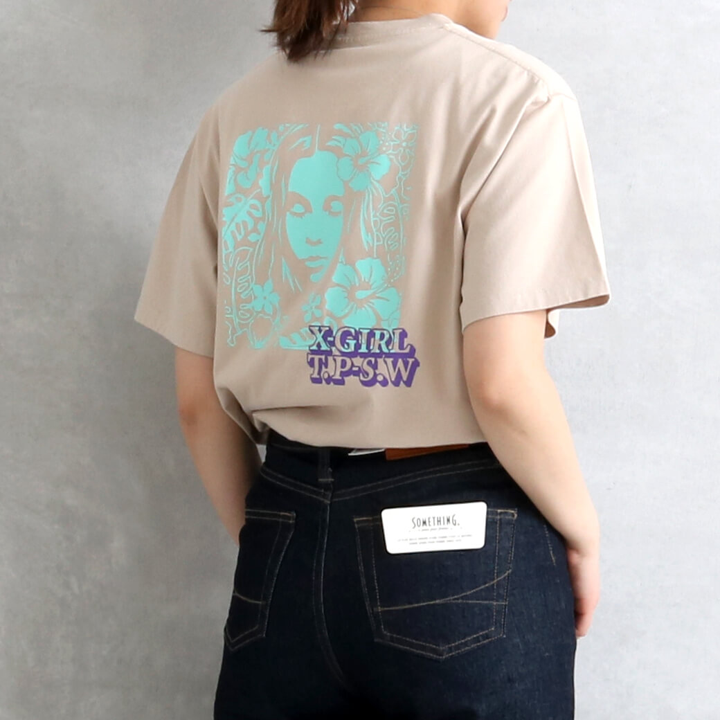 X-girl エックスガール HIBISCUS FACE S/S TEE